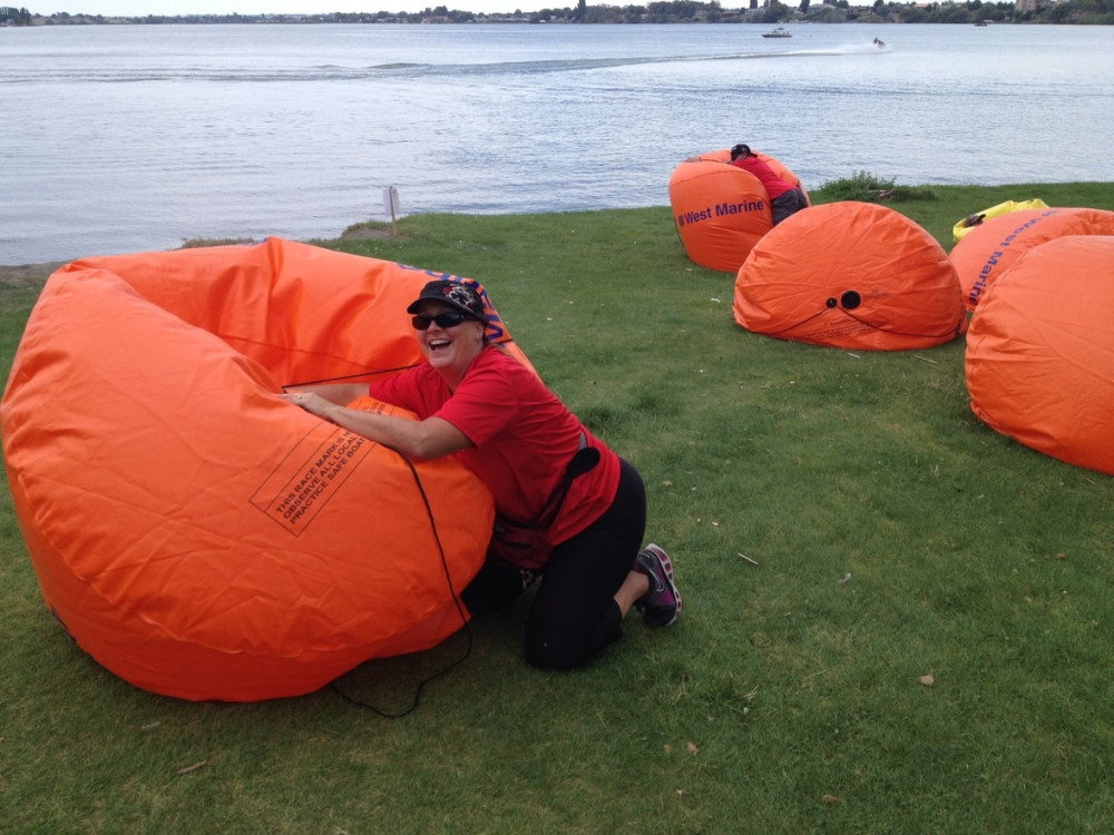 Lori and Doug Robins deflating the buoys. A site to see. lol