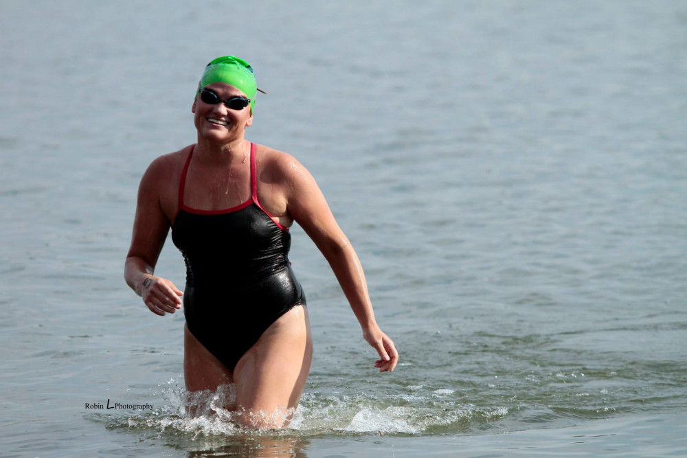Candace Pitts completes the 2.4 mile swim in Moses Lake