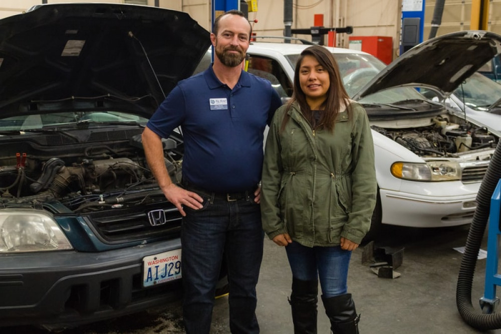 Francisca Juarez with BBCC Automotive instructor, John Martin.