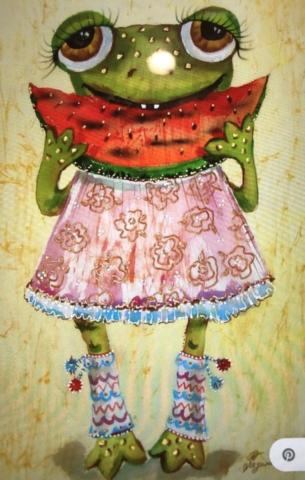 Can you paint a frog eating a watermelon? I bet you can!