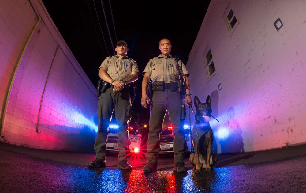 Deputy J. Rivera, Deputy R. Char, K-9 Chica, of Grant County Sheriffs Office