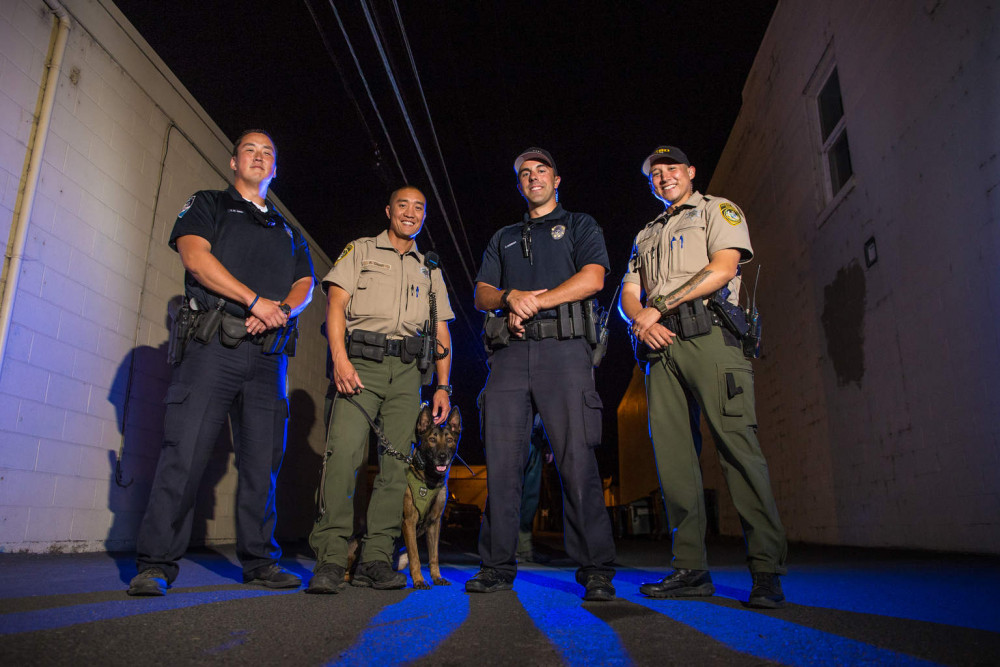 Officer T. St. Onge, Deputy R. Char, K-9 Chica, Officer C. Ledeboer, Deputy J. Rivera