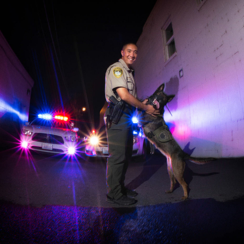 Deputy R. Char of Grant County Sheriffs Office accompanied by Officer Chica, K-9.